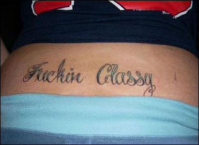 Tramp stamp tattoo