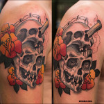 Neotraditional skull tattoo